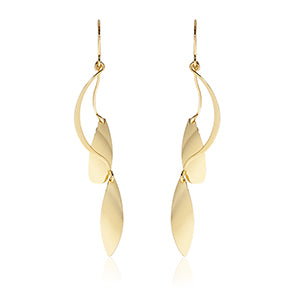 Gold Double Leafed Dangling Earrings