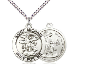 Saint Michael Silver Pendant And Chain