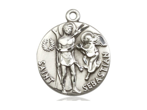 Saint Sebastian Silver Pendant With Chain