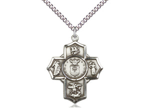 Five Way Devotion Medal With Chain Air Force Silver Religious
