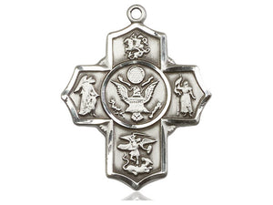 Army Five Way Silver Devotion Medals With Chain Religious