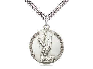 Saint Bernadette Silver Medal And Chain religious