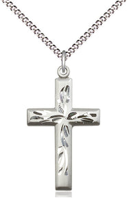 Silver Florentine Cross And Chain