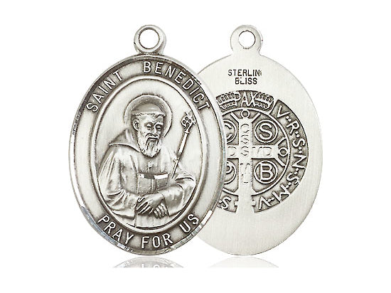 Saint Benedict Silver Medal With Silver 24 Inch Chain Religious