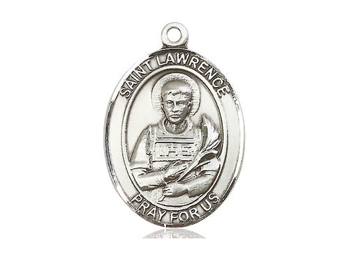 Saint Lawrence Silver Pendant With 18 Inch Chain