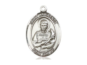 Saint Lawrence Silver Pendant With 18 Inch Chain Religious