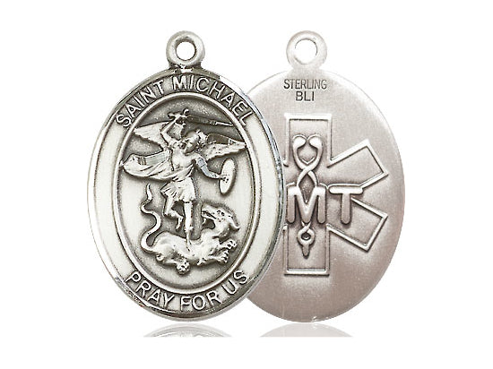 Saint Michael E.M.T. Silver Pendant With Chain