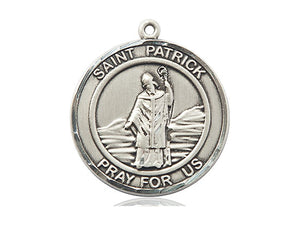 Saint Patrick's Medal With 24 Inch Silver Curb Chain Religious