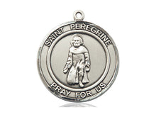 Load image into Gallery viewer, Saint Peregrine Silver Medal With 18 Inch Silver Curb Chain Religious