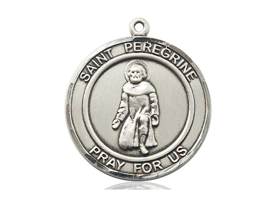 Saint Peregrine Silver Medal With 18 Inch Silver Curb Chain Religious