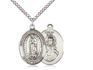 Our Lady Of Guadalupe Silver Pendant With Chain Religious