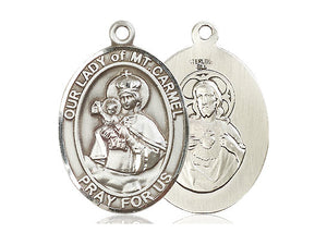 Our Lady Of Mount Carmel Silver Pendant With Chain Religious