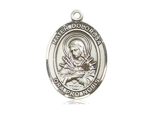 Mater Dolorosa Silver Pendant With Endless Chain
