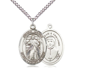 Divine Mercy Silver Pendant With Chain Religious