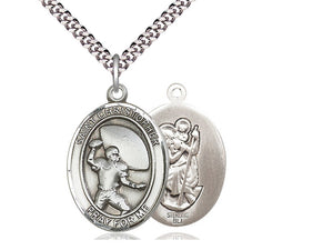 Saint Christopher Football Silver Pendant With Chain Religious