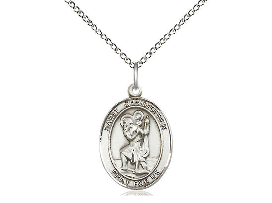 Saint Christopher Silver Pendant With Chain