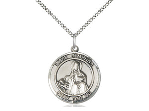 Saint Dymphna Silver Pendant With Chain