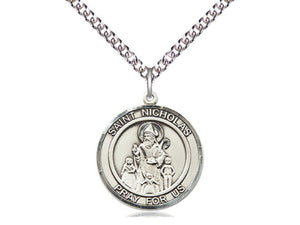 Saint Nicholas Silver Pendant With Silver Chain