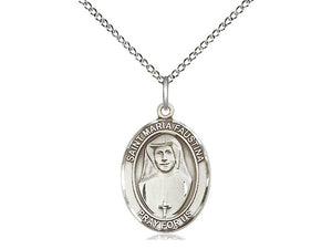 St Maria Faustina Silver Pendant With 18 Inch Chain Religious