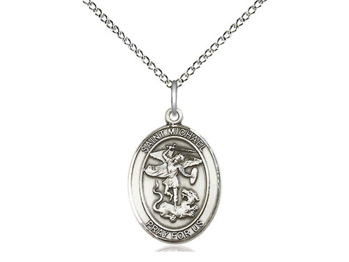 Saint Michael Silver Pendant With Chain