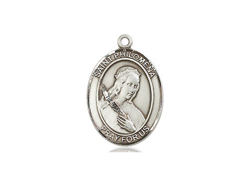 Saint Philomena Silver Pendant With Chain Religious