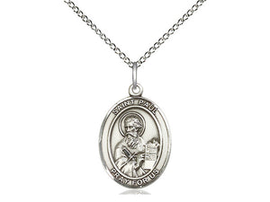 Saint Paul Silver Pendant With 18 Inch Curb Chain Religious