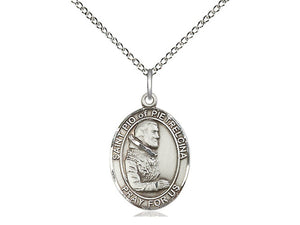 Saint Pio Of Pietrelcina Silver Pendant With Chain