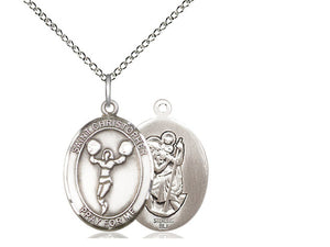 Cheerleading St Christopher Silver Pendant With Chain