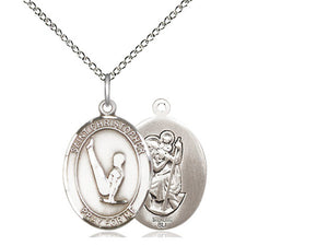 Saint Christopher Gymnastics Silver Pendant With Chain Religious