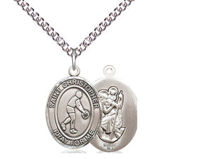 Saint Christopher Basketball Silver Pendant With Chain
