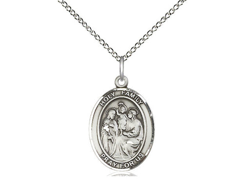 Holy Family Silver Pendant With Chain Religious