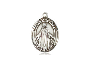 Our Lady Of Peace Silver Pendant And Chain