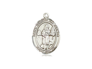 Saint Isidore The Farmer Silver Pendant And Silver Chain Religious