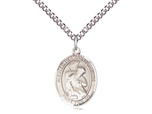 Saint Herman The Cripple Silver Pendant And Chain