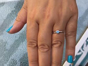 Silver Blue Topaz Stackable Ring