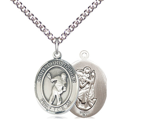 Saint Christopher Silver Lacrosse Pendant And Chain