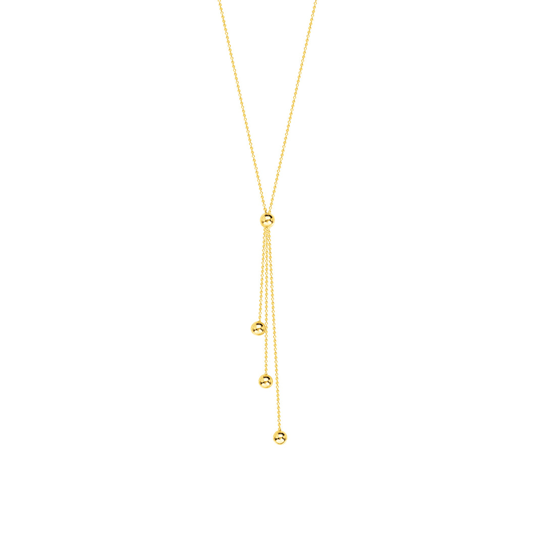14K Yellow Gold Choker Lariat Necklace