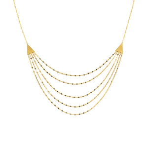 Five Layer Adjustable 14K Gold Necklace