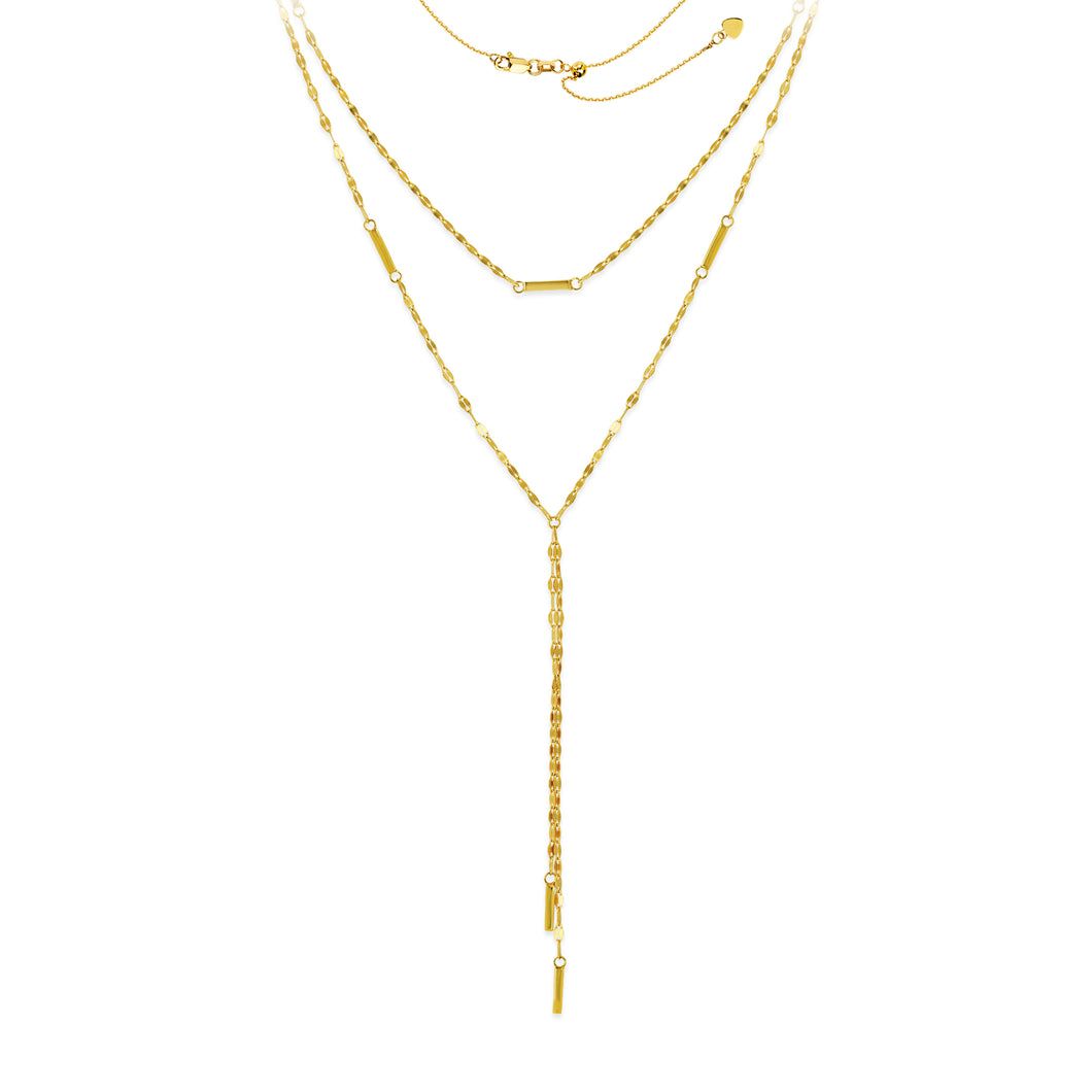 14K Yellow Gold Double Layer Adjustable Lariat Y Necklace