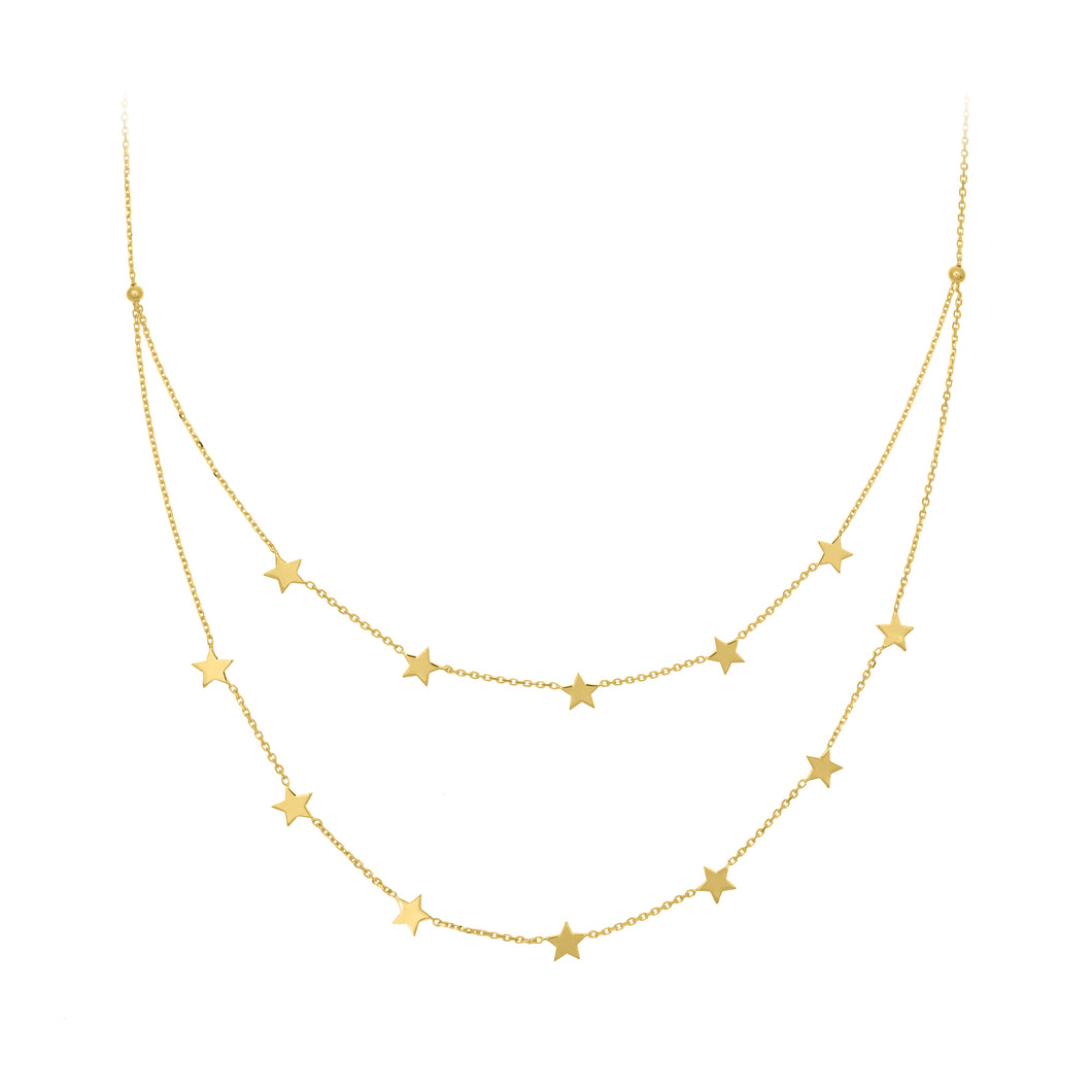 Double Layer 14 K Gold Star Necklace