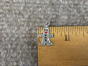 Gingerbread Man Silver Charm