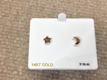 Load image into Gallery viewer, Star & Moon 14 K Rose Gold Earrings