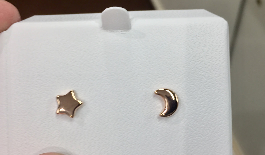 Star & Moon 14 K Rose Gold Earrings