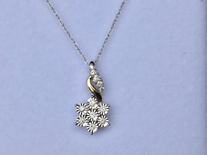 14 K yellow And White Gold Diamond Pendant With Chain