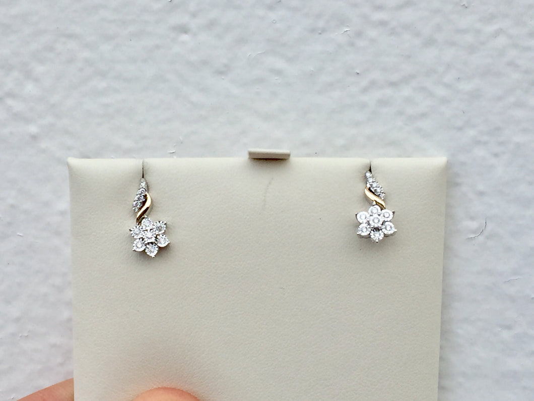 14 K Yellow And White Gold Diamond Earrings