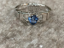 Load image into Gallery viewer, Silver Women's Blue Heart Stone Claddagh Ring