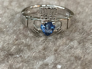 Silver Women's Blue Heart Stone Claddagh Ring