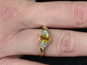 Yellow Sapphire And Diamond 14 K Yellow Gold Ring