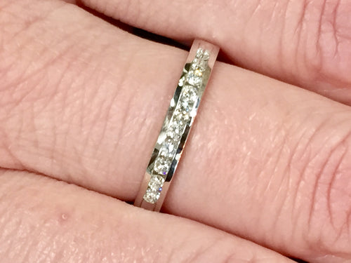 Diamond Anniversary/Wedding Ring .25 Carats Channel Set White Gold