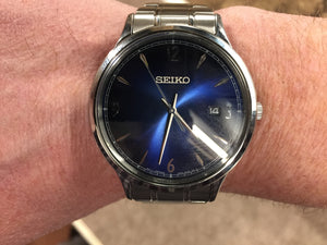 Men's Seiko Blue Dial Stainless Steel Watch